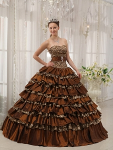 Brown Sweetheart Zebra or Leopard Ruffles Quinceanera Dress