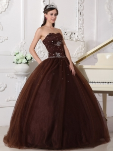 Brown Sweetheart Tulle Rhinestone Quinceanera Dress
