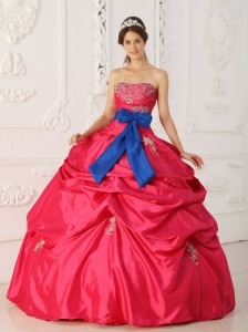 Strapless Taffeta Beading and Sash Hot Pink Sweet 16 Dress