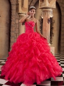 Coral Red Quinceanera Dress Ball Gown Sweetheart Ruffles Organza