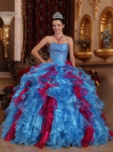 Exclusive Ruffles Sweetheart Organza Beading Quinceanera Gown