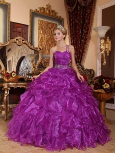 Purple One Shoulder Organza Beading Quinceanera Dress