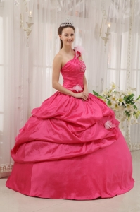 Beading Pick-ups Hot Pink Quinceanera Dress One Shoulder