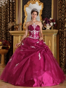 Fuchsia Organza and Satin Appliques Dress for Quinceanera
