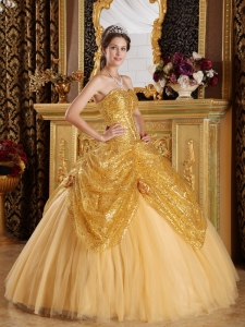 Gold Sweetheart Sequined and Tulle Handle Flowers Quinceanera Dress