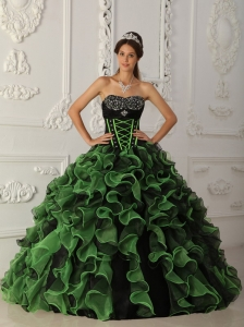 Green and Black Sweetheart Ruffles Beading Quinceanera Dress