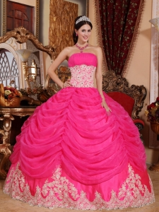 Hot Pink Brapping Layers Beading Quinceanera Dress
