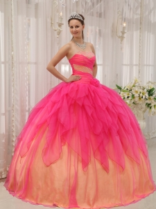 Hot Pink and Orange Organza Beading Sweet 15 Dress