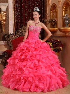 Strapless Ruffles Organza Beading and Appliques Quinceanera Gown