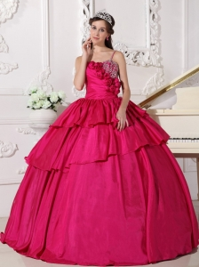 Fuchia Ball Gown Quinceanera Dress with Straps and Beading