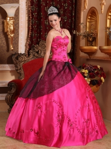 Hot Pink Sweetheart Embroidery with Beading Quinceanera Gown