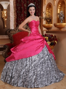 Hot Pink Sweetheart Taffeta and Zebra Beading Quinceanera Gown