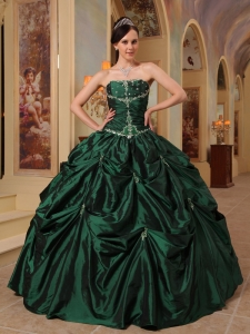 Hunter Green Strapless Beading Taffeta Sweet 15 Dress