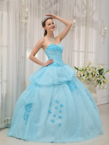Sweetheart Appliques Light Blue Quinceanera Gown Dress