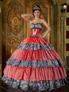 Luxurious Zebra Sweetheart Ruffles Quinceanera Dress