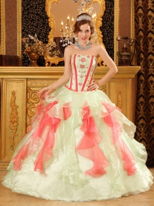 Sweetheart Multi-Color Quinceanera Dress Organza Appliques