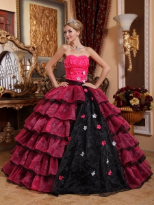 Pink and Black Appliques Quinceanera Dress Handle Flowers