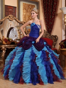Multi-color Strapless Appliques with Beading Quinceanera Dress