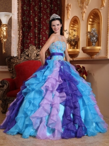Ruffles Appliques Multi-color Quinceanera Dress Beaded