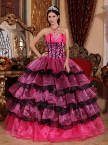 Sweetheart Floor-length Organza Ruffles Dress for Quinceanera