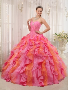 Multi-colored Sweetheart Organza Broach Sweet 15 Dress