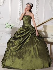 Olive Green Ball Gown Taffeta Beading Quinceanera Gown