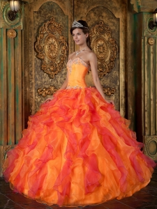 Orange and Pink Sweetheart Ruffles Organza Sweet 16 Dress