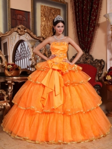 Orange Organza Ruffles Quinceanera Dress Ball Gown Bow