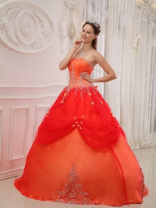 Orange Red Strapless Taffeta and Tulle Appliques Quinceanera Gown