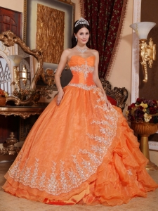 Asymmetrical Orange Ball Gown Sweetheart Appliques Quinceanera Gown