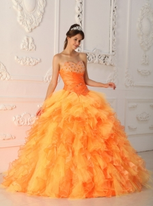 Orange Sweetheart Organza Beading and Ruch Quinceanera Dress