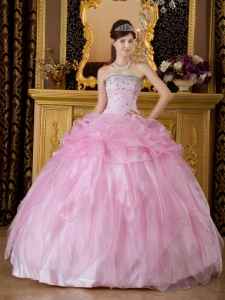 Baby Pink Ball Gown Strapless Beading Sweet 15 Dress