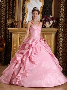 Pink Straps Beading and Appliques Dress for Quinceanera