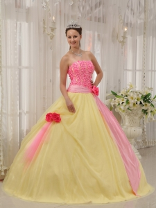 Pink and Yellow Taffeta and Tulle Hand Made Flowers Quinceanera Gown