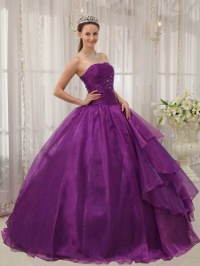 Purple Ball Gown Strapless Organza Beading Sweet 15 Dress