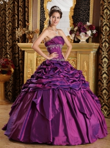 Eggplant Purple Pick-ups Taffeta Quinceanera Dress with Embroidery