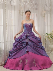 Purple Ball Gown Appliques Quinceanera Dress Hand Flowers