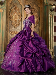 Purple Ball Gown Strapless Embroidery Quinceanera Dress
