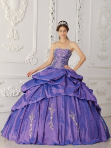 Taffeta Pick Ups Embroidery and Beading Quinceanera Dress