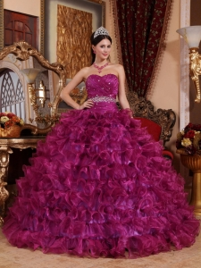 Fuchsia Ball Gown Sweetheart Organza Beading Quinceanera Gown