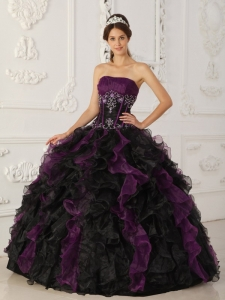 Taffeta Organza Purple and Black Quinceanera Dress Beaded