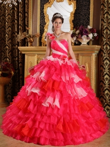 Two Pink Shades One Shoulder Ruffles Beading Quinceanera Gown