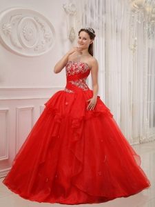 Red Ball Gown Strapless Appliques Quinceanera Dress