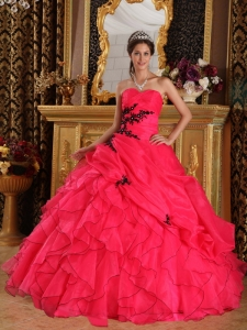 Coral Red Ball Gown Sweetheart Appliques Quinceanera Dress