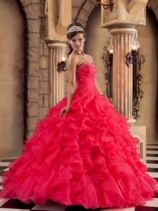Ball Gown Sweetheart Organza Ruffles Quinceanera Dress