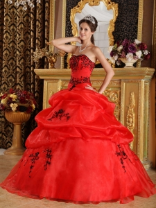 Red Ball Gown Sweetheart Embroidery Quinceanera Dress