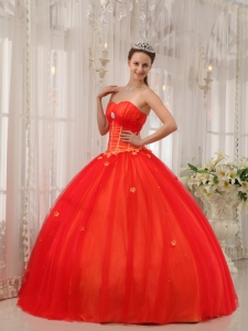 Red Sweetheart Taffeta and Tulle Appliques Quinceanera Dress