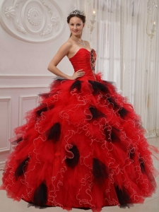 Beading Ruch Sweetheart Quinceanera Dress Red and Black