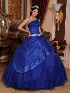 Royal Blue One Shoulder Organza Beading Quinceanera Gown