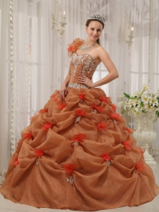 One-shoulder Appliques Quinceanera Dress Rust Red
